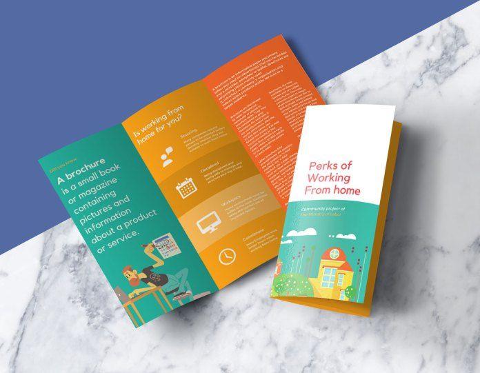 Free Tri Fold Roll Fold Brochure Psd Mockup Brochure Psd Brochure Mockup Free Trifold Brochure Design
