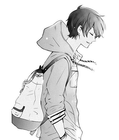 Anime hoodie girl side boy manga garçon noir et blanc