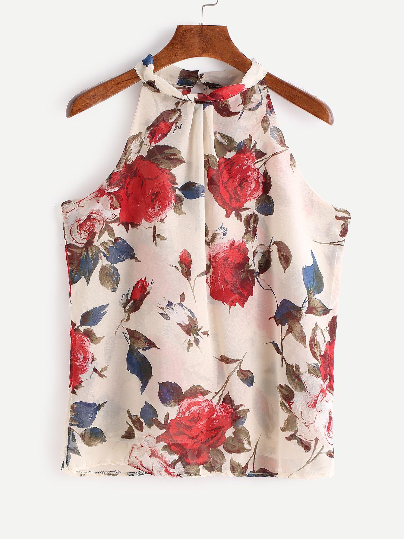 b532d724b0e2 Top de chifón sin mangas con estampado floral-(Sheinside) | Tops en ...