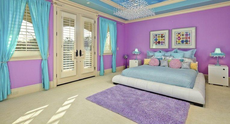 Purple Girl Room Bedroom Themes Purple Bedrooms Violet color bedroom ideas