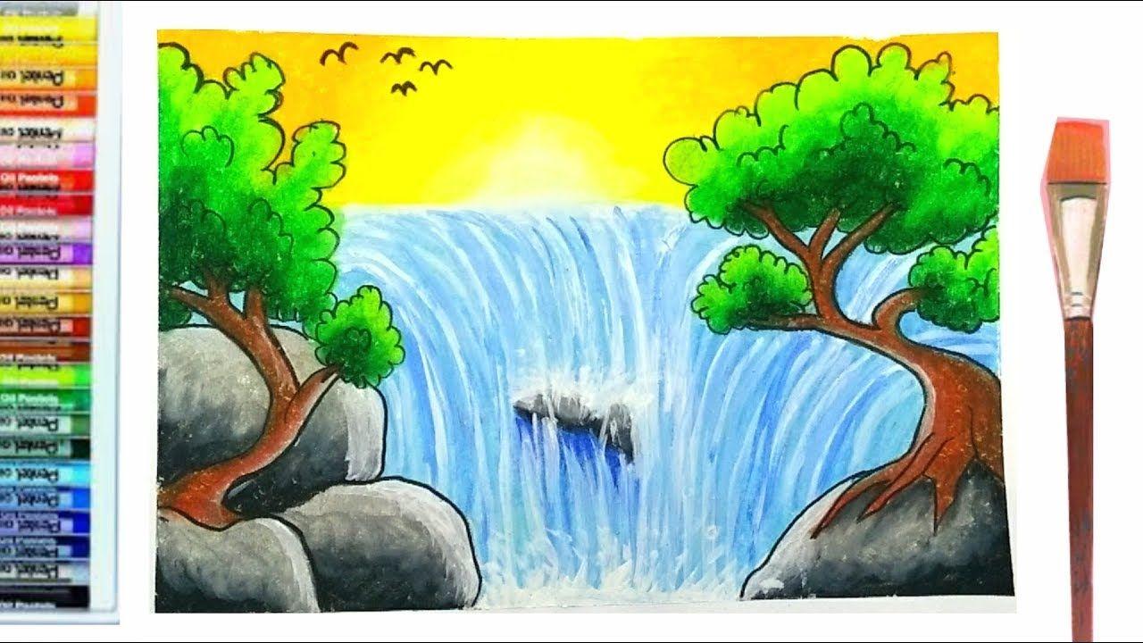 Ow To Draw And Color Waterfall L วาดภาพระบายส น ำตก น ำตก สอนวาดร ป