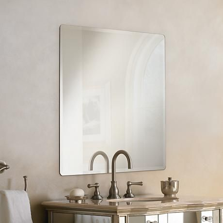 Galvin 36 Square Frameless Beveled Wall Mirror P1426 Lamps Plus Rustic Wall Mirrors Mirror Design Wall Hanging Wall Mirror
