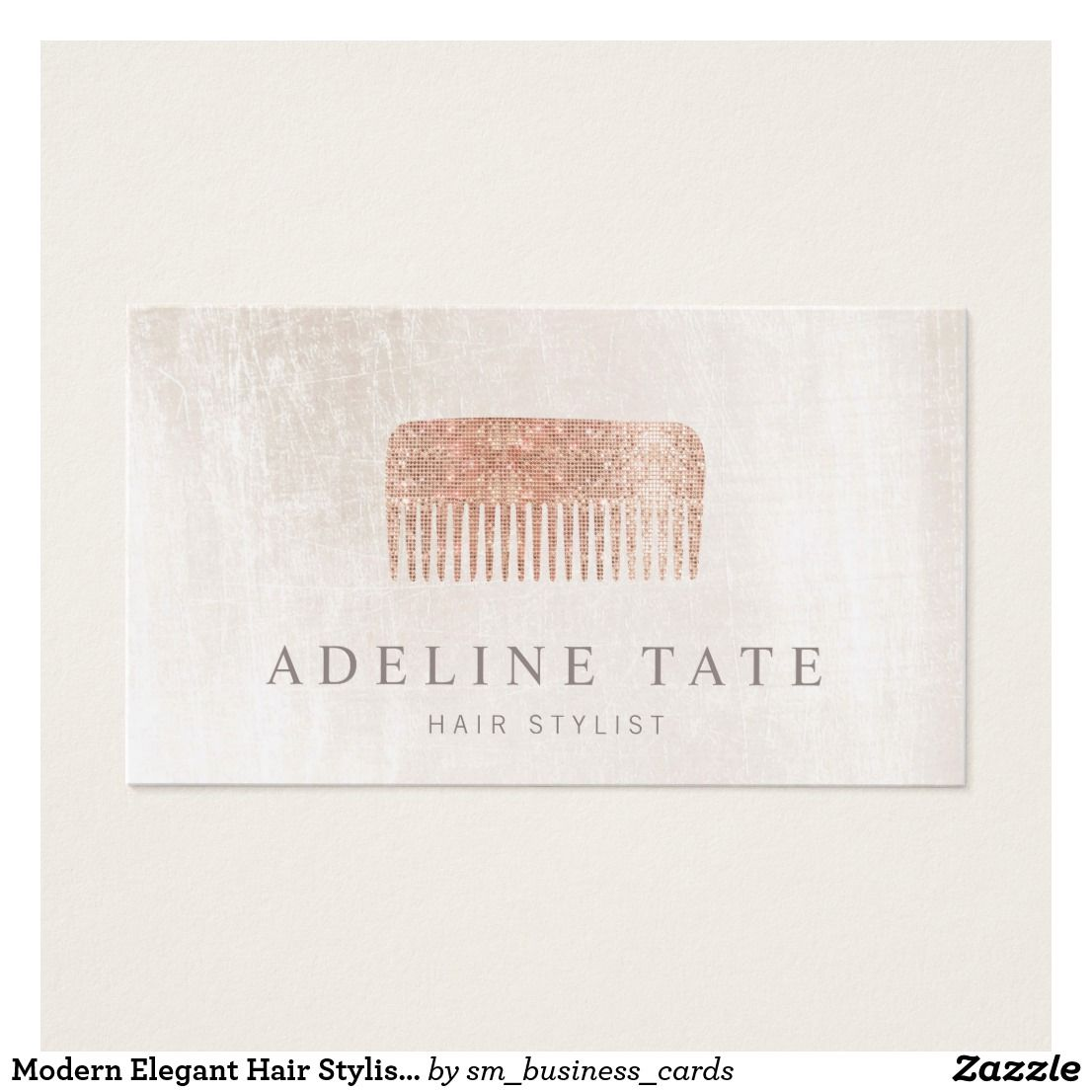 Modern Elegant Hair Stylist Rose Gold Sequin Comb Business Card ...