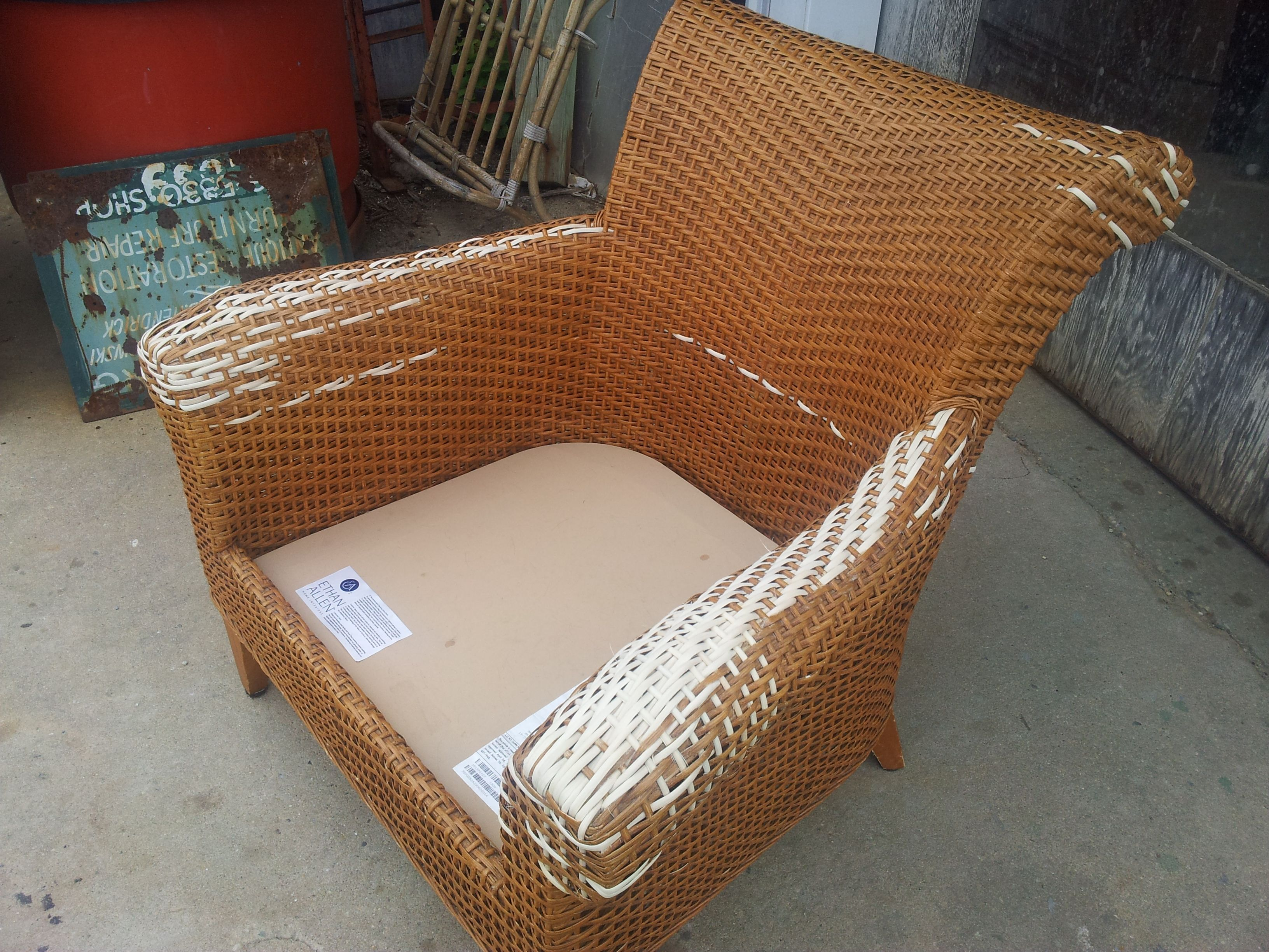 Ethan Allen arm chair repaired caning rush wicker