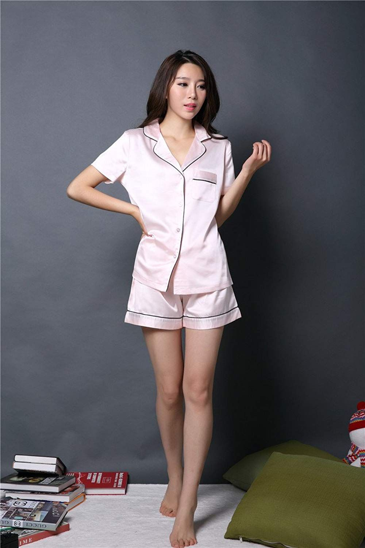 NANJUN Women s Satin Pajamas Sleepwear Short Button-Down Pj Set(Black 7246daf05