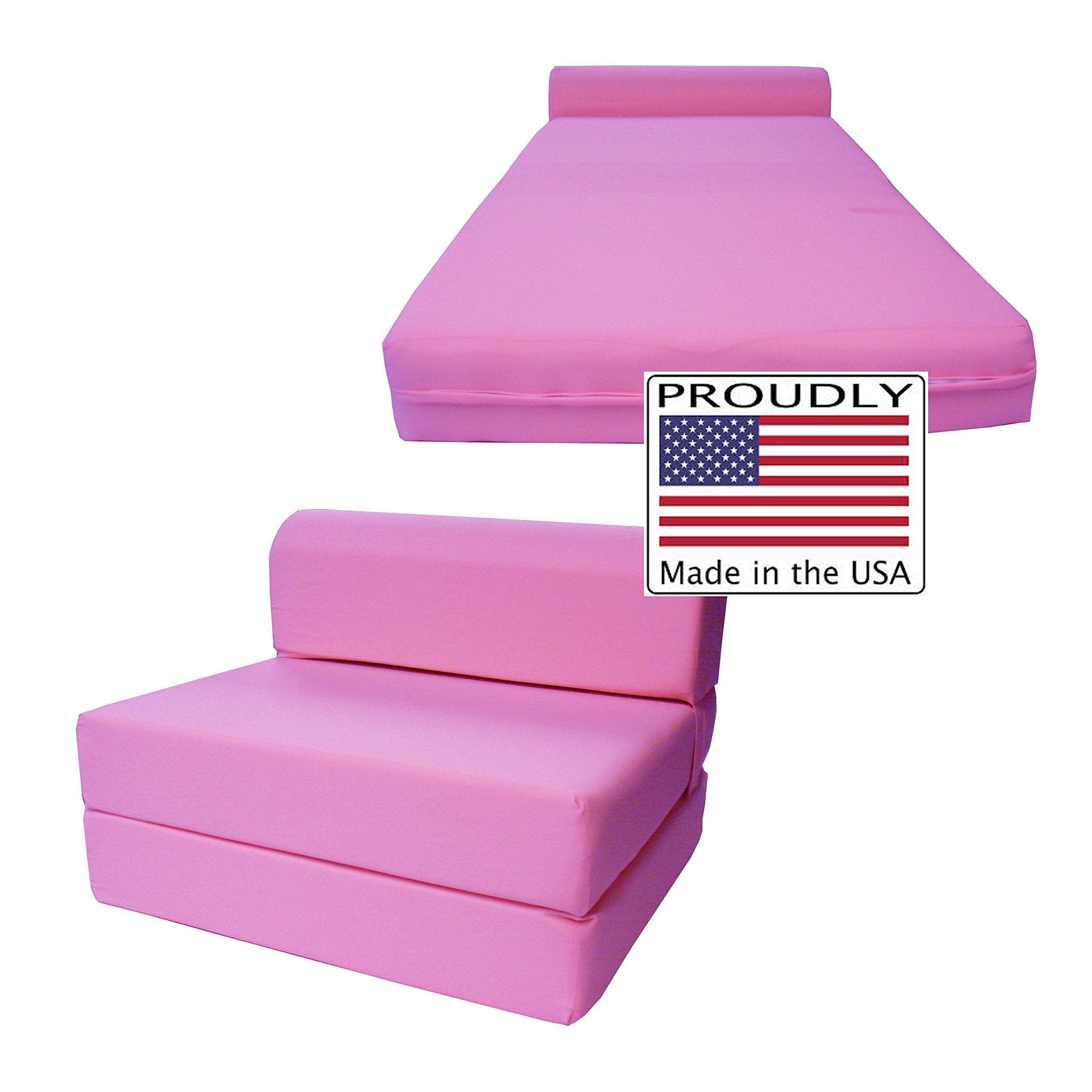 D&D Futon Furniture Pink Sleeper Chair Folding Foam Bed