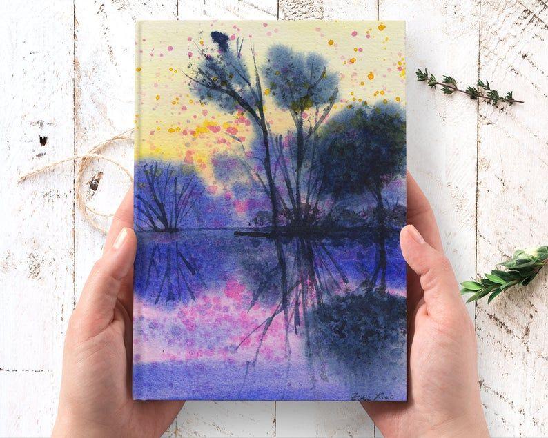Dreamy Purple Lake Hardcover Journal - lined noteb