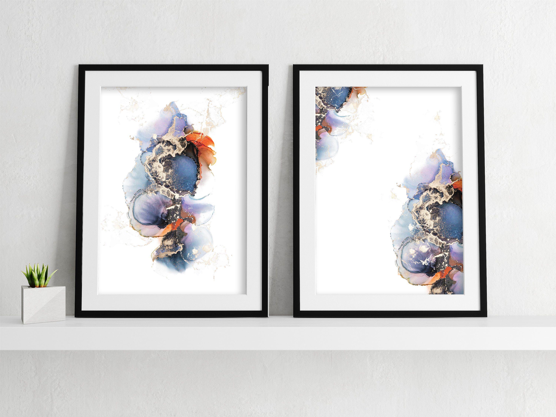 Watercolour Alcohol Painting Set 2 Digital Downloadable Prints