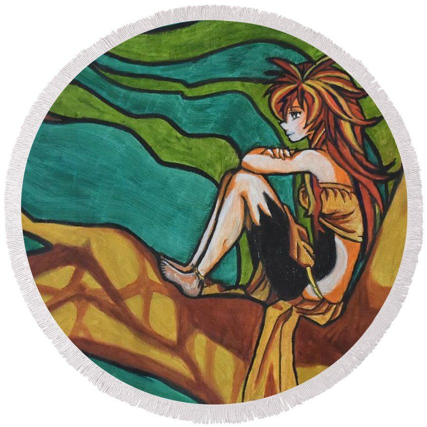 Anime illustration round beach towel for sale by marta