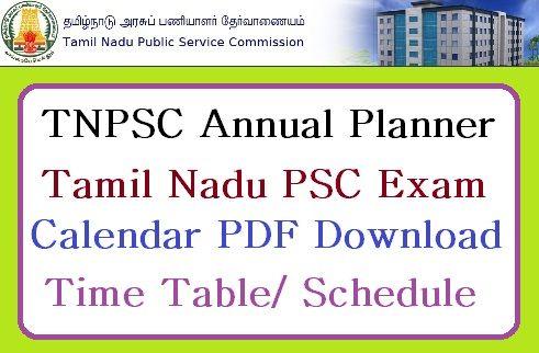 TNPSC Annual Planner 2018-19 , Tamil Nadu PSC Upcoming Exams