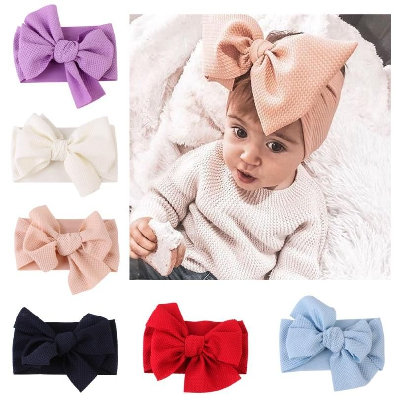 Babies Lovely Kids Big Bow Hairband Nylon Stretch Turban Knot Head Wrap Headband