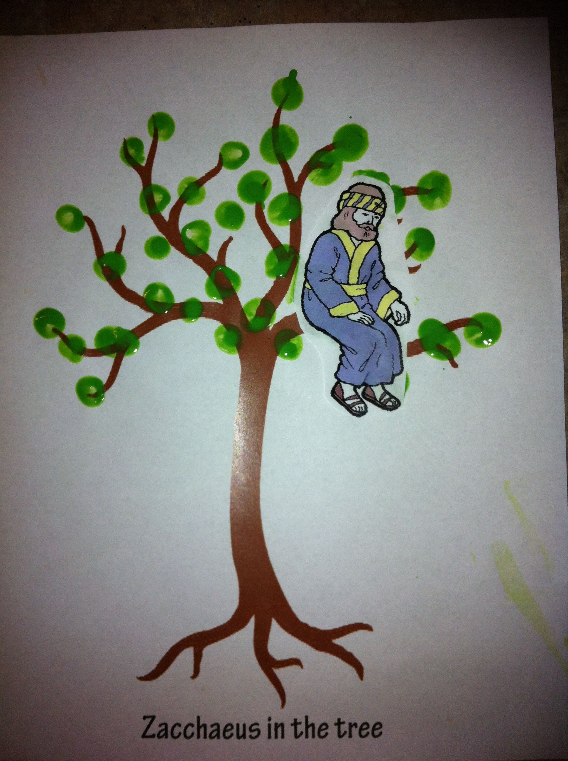 Zacchaeus in the tree! Printed bare tree online and took child\'s ...