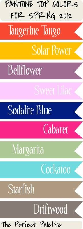 Spring 2012 color palette #pantone. Many of these colors are perfect for a beach inspired color palette.
