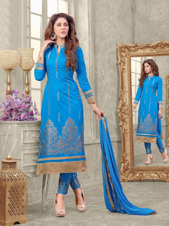 Blue Cambric Cotton Straight Suit 58896 | shiny dresses | Pinterest ...