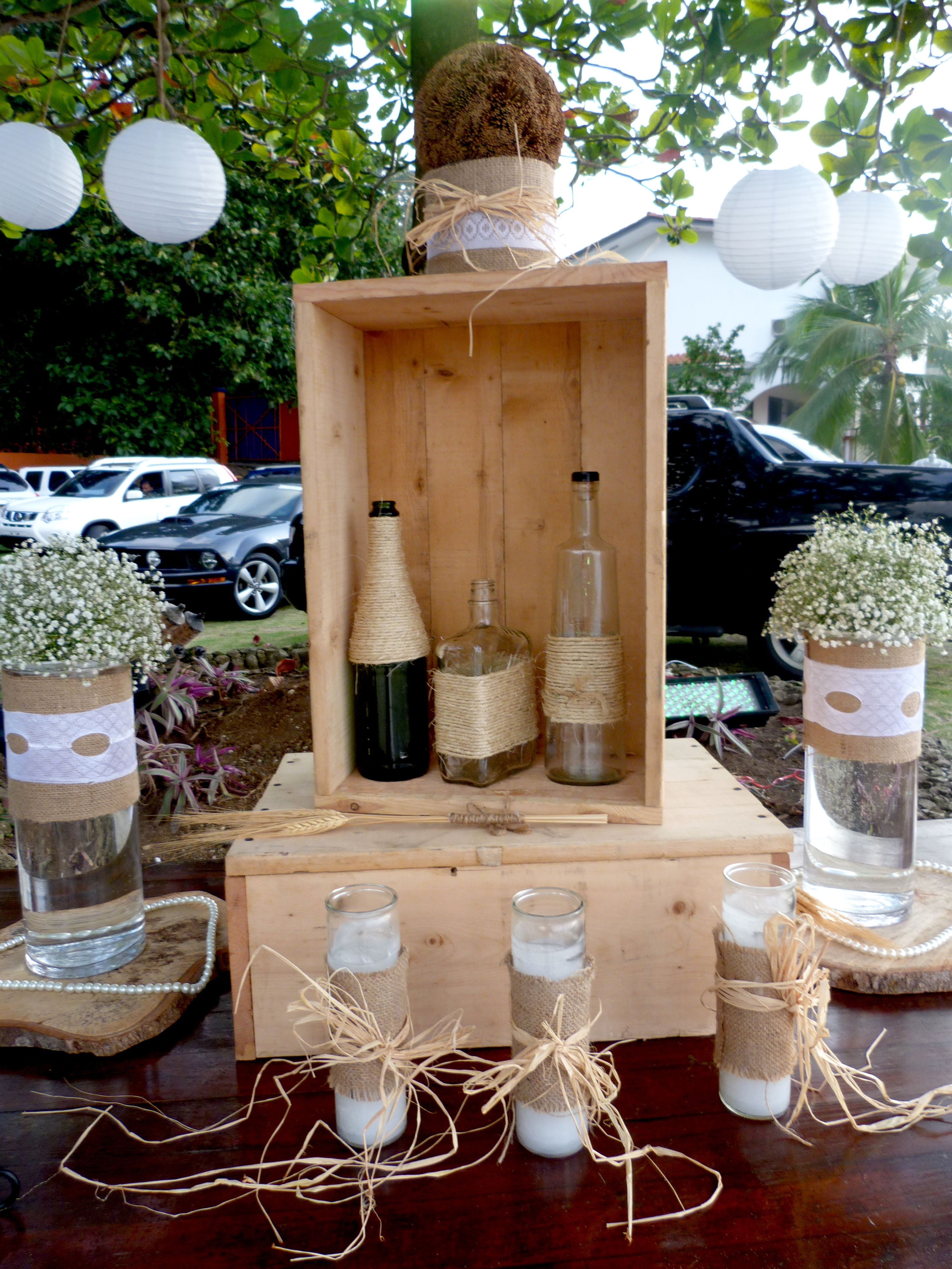 Rustic table decoration wedding outdoor bottles diy rustic