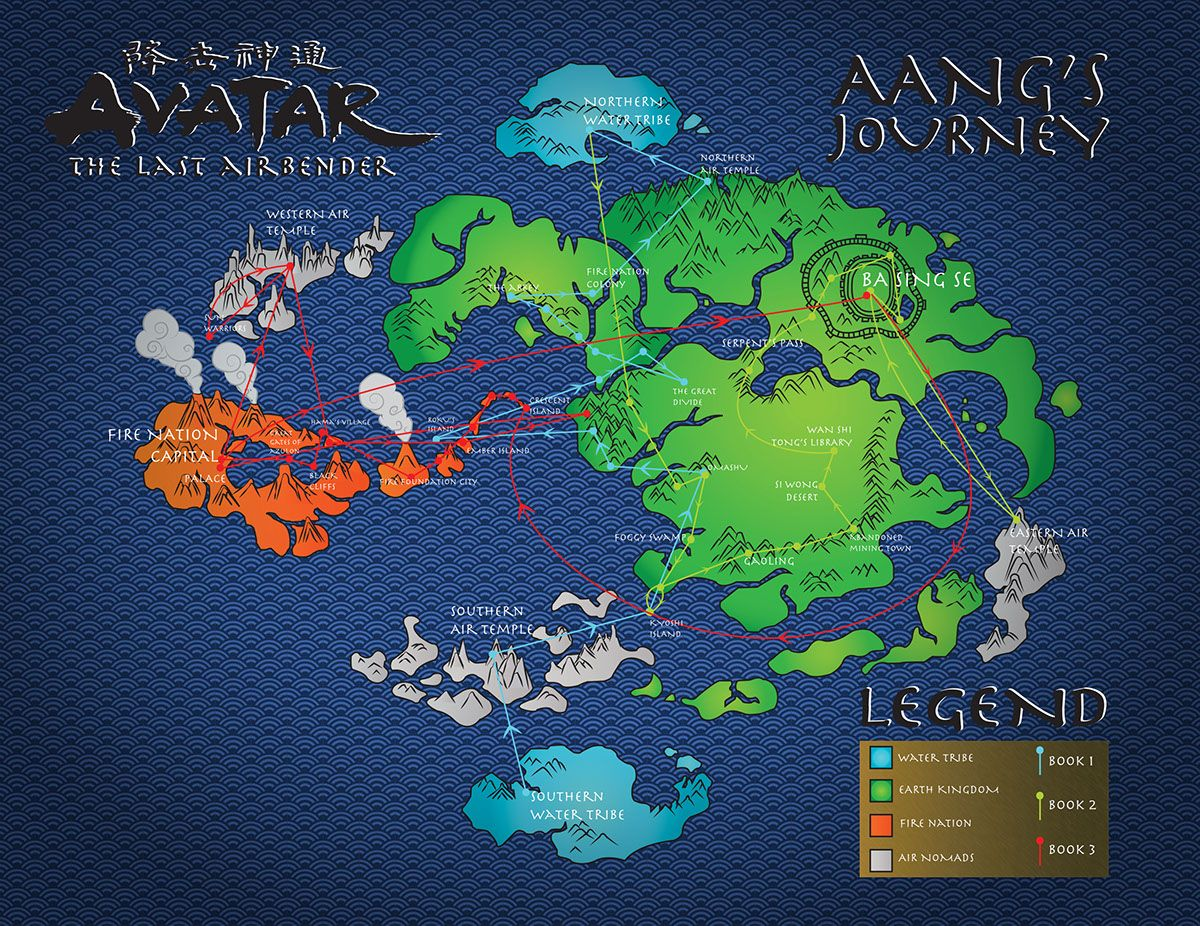 Avatar The Last Airbender Map On Behance Infográfico Avatar - Avatar the last airbender us map