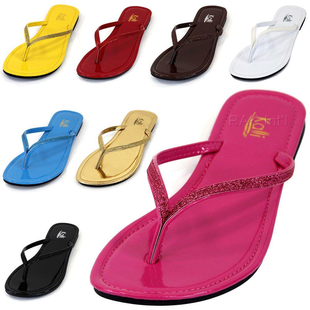 Shoes sandals flip flops - Details About Kali New Womens Flip Flops Glitter Summer Beach Flat Sandals Slipper Shoes Focus