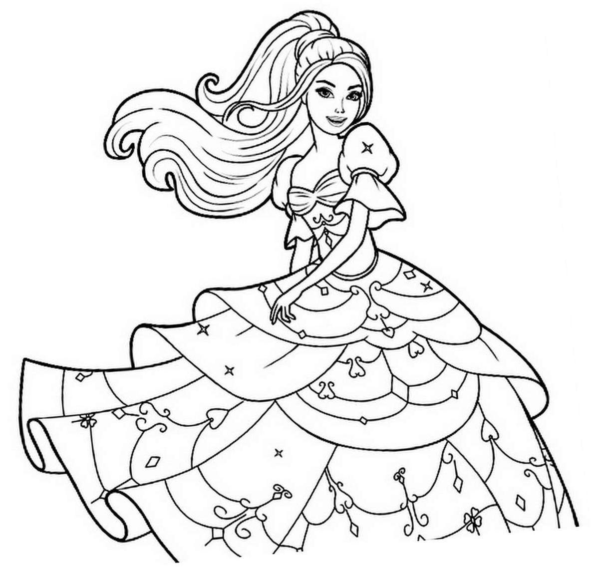 Barbie Ausmalbilder Kostenlos Malen : Coloriage Barbie Et Sa Belle Robe