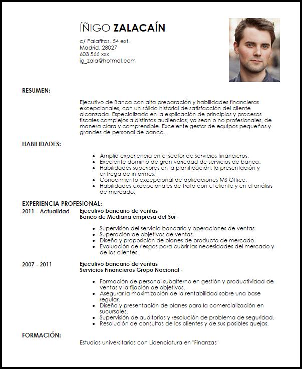 Modelo De Curriculum Vitae Corporativa: Modelo Curriculum Vitae Ejecutivo Bancario De Ventas
