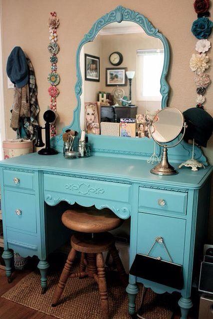 Blue, decoracion, interiores, tocador