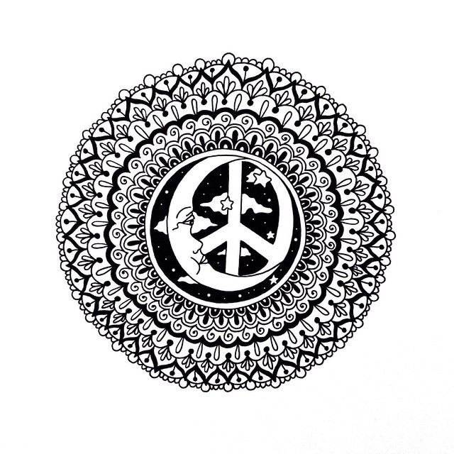 ☮ American Hippie Art ☮ Coloring Page .. Mandala Moon Peace Sign ...