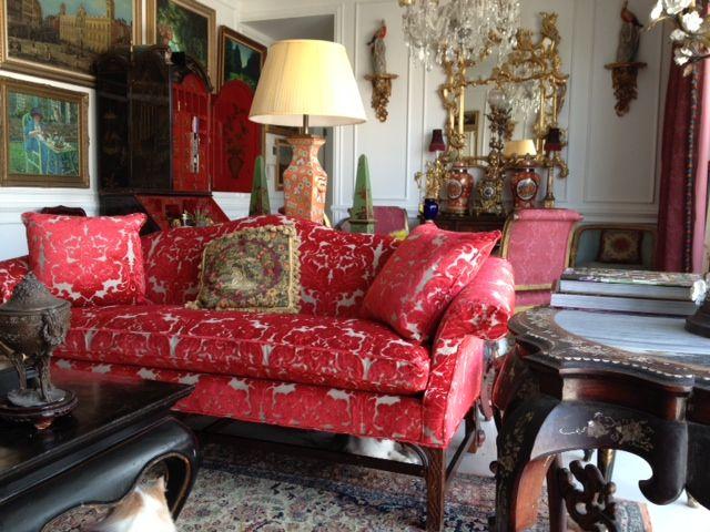Red chenille upholstery fabric on sofa - The Millshop Online ...