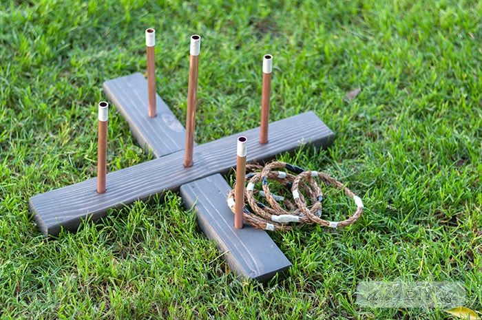 This is a simple and fun backyard game idea! How to make a diy ring toss game for kids, wedding, family night. Great for Summer and garden parties! #AnikasDIYLife #woodworking #games