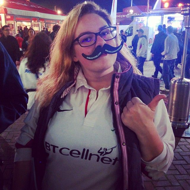 V excited for the match today at the #twickenham fan village! Cheers for the pimping accessory @jhbodyfire @jameshask !!! #musclemovember #engvsam #carrythemhome