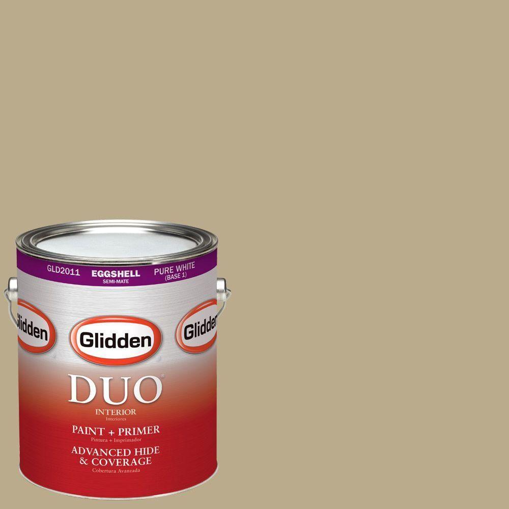 Glidden DUO 1-gal. #HDGY52U Dusty Khaki Eggshell Latex Interior Paint with Primer