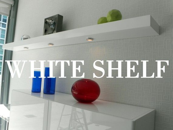 "White Floating Wall Shelf 24"" x 9.5"" x 3"" floating white shelves, set of 3, wall wood shelf"