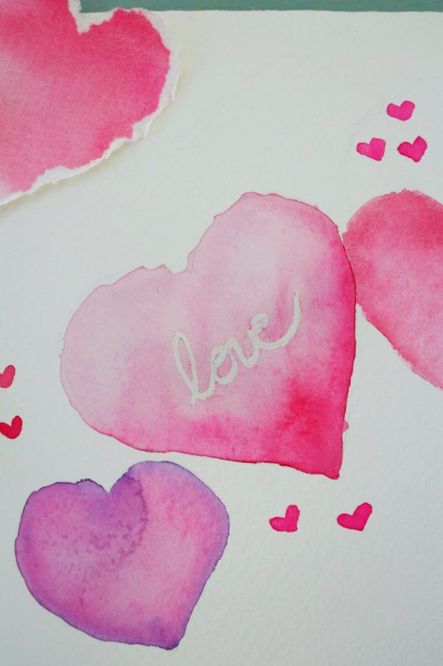 Watercolor Hearts Valentine S Day Card Watercolor Pinterest