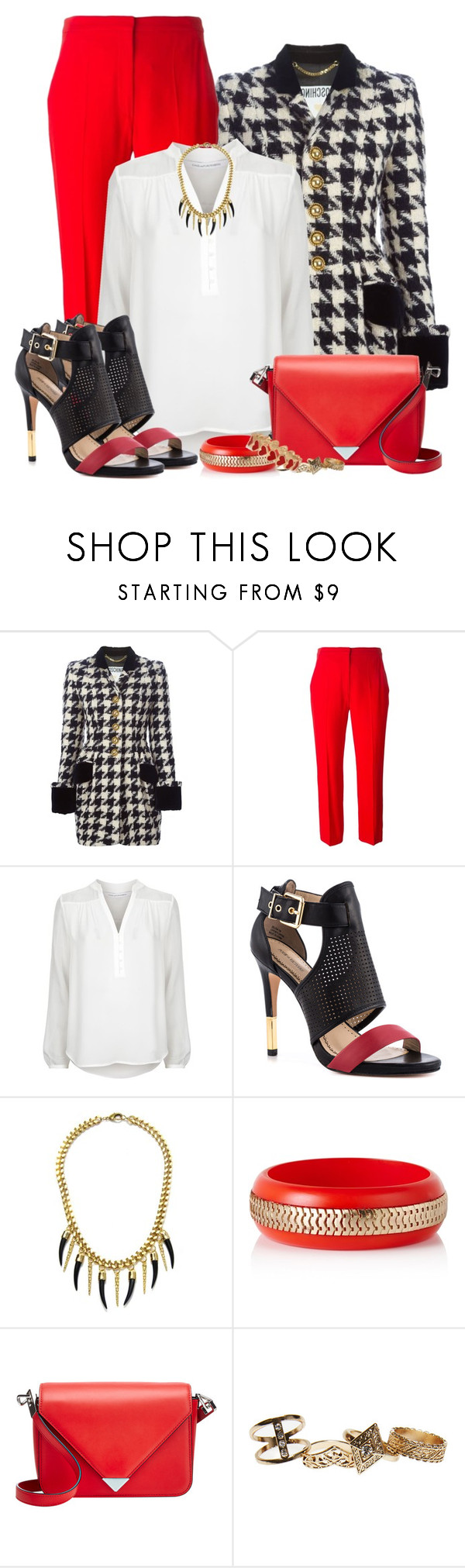 """Sem título #518"" by luhmartins ❤ liked on Polyvore featuring Moschino, Alexander McQueen, Diane Von Furstenberg, Pour La Victoire, Alexander Wang, Wet Seal, Alison Lou, white, black and red"
