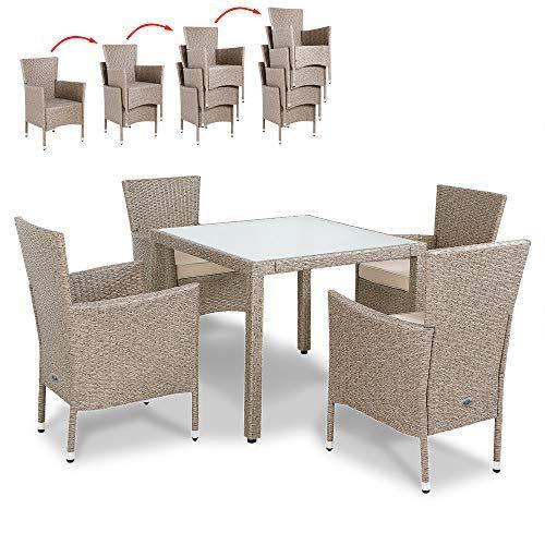 Deuba | Salon de Jardin en polyrotin Gris/Beige 1 Table et 4 ...