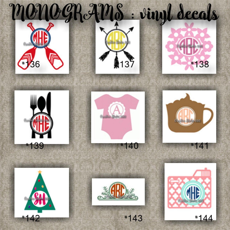 Monogram vinyl decals name initial decal sticker car decals car stickers laptop sticker 136 144 by creativedecals805 on etsy