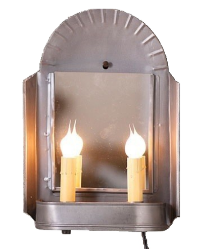 Inn Keeper S Sconce Dual Candle Plug In Wall Light With Mirror 2 Finishes Primitive Lighting Rustic Wall Sconces Plug In Wall Lights