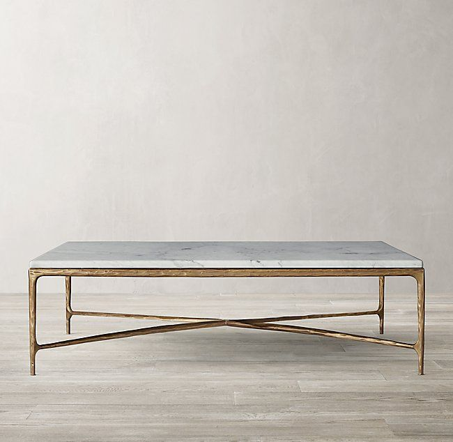 Thaddeus Forged Brass & Marble Square Coffee Table images