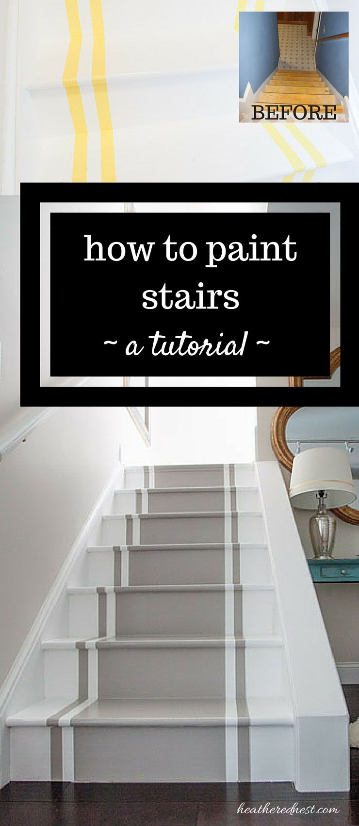 How to paint stairs a diy tutorial pinterest stair for Diy staircase makeover