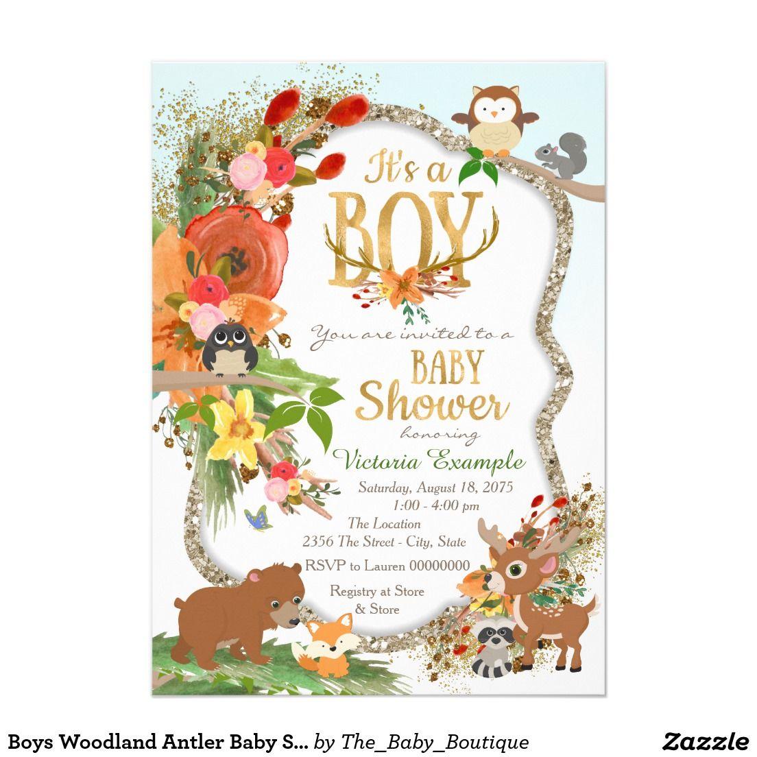 boys woodland antler baby shower invitation  zazzle