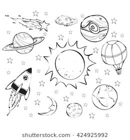 Space theme doodle. Drawings, Picture letters, Pattern art