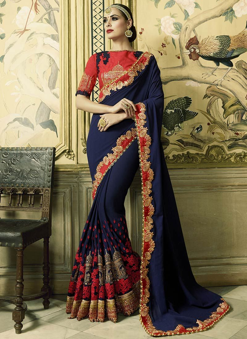 d3bded38a6 Shop Navy blue and red georgette wedding wear saree online at  kollybollyethnics from India with free worldwide shipping.