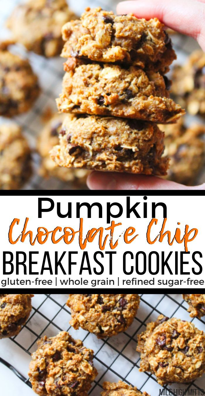 Easy, healthy, gluten-free, whole grain and refined sugar-free Pumpkin Chocolate Chip Breakfast Cookies. Loaded with oats, walnuts, flax seed, mini chocolate chips, pumpkin and pumpkin spice, these breakfast cookies are a great Fall breakfast or on the go snack, for kids or adults alike! #glutenfreebreakfasts