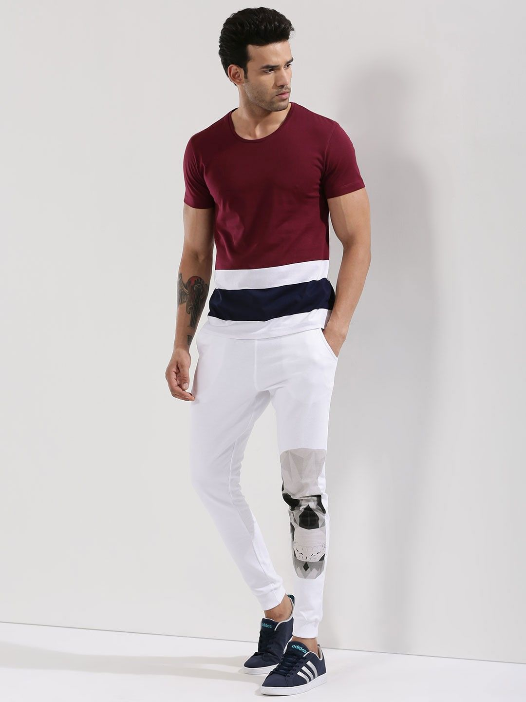 2235a47e8a4e Buy KOOVS Multi Color Striped T-Shirt online in India at best price.T