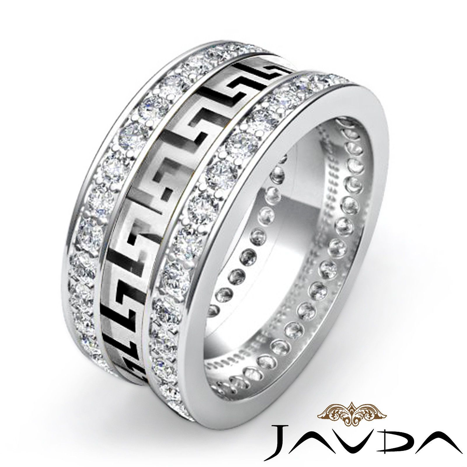 mens maze eternity wedding band prong diamond 10mm ring 14k white