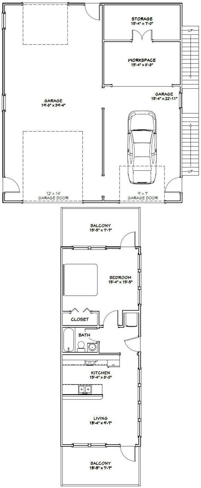 36x40 Apartment with 1-Car 1-RV Garage -- PDF Floor Plan ...