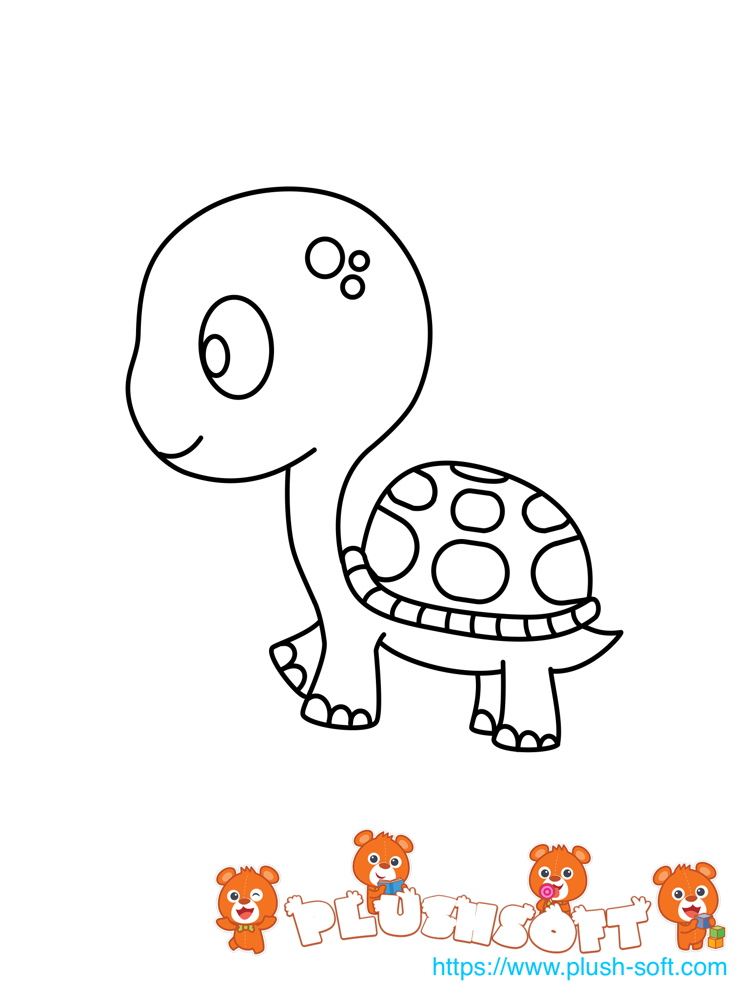 Printable coloring page a cute turtle for your kids to color