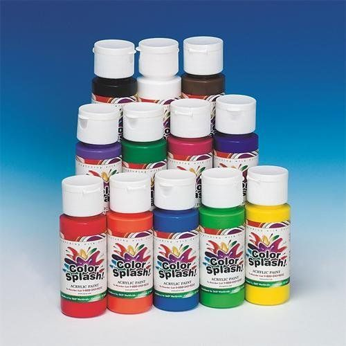 2-Oz. Color Splash! Acrylic Paint (Pack of 12) by Color Splash. $11.99. In 12 great colors kids LOVE!. 2-oz. squeeze bottles.. Deep, rich tones dry to a soft matte finish. Highly pigmented for better blending and color mixing. For painting, stenciling or finishing ceramic projects. 2-oz. squeeze bottles. Includes ultra blue, red, black, purple, yellow, blue, magenta, white, burnt umber, green, vermilion and light green.