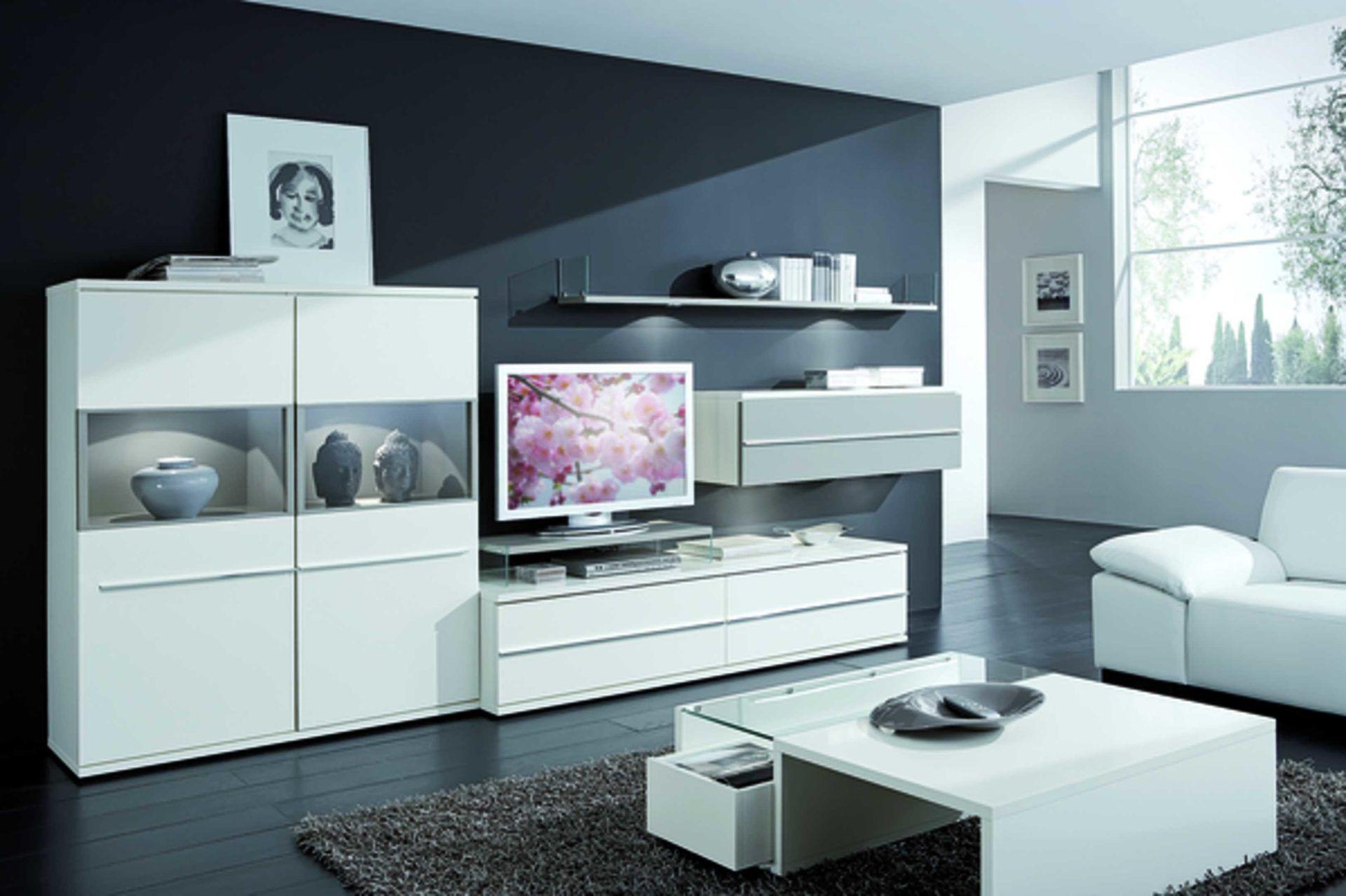 Diese Elegante Loddenkemper Wohnwand Aus Lack In Den Farben Weiss Und Soft Grau Von Besteht
