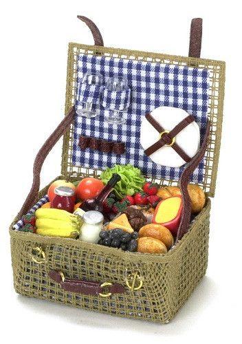 1:12 Scale Opening Large Picnic Basket Tumdee Dolls House Miniature Hamper ZPr