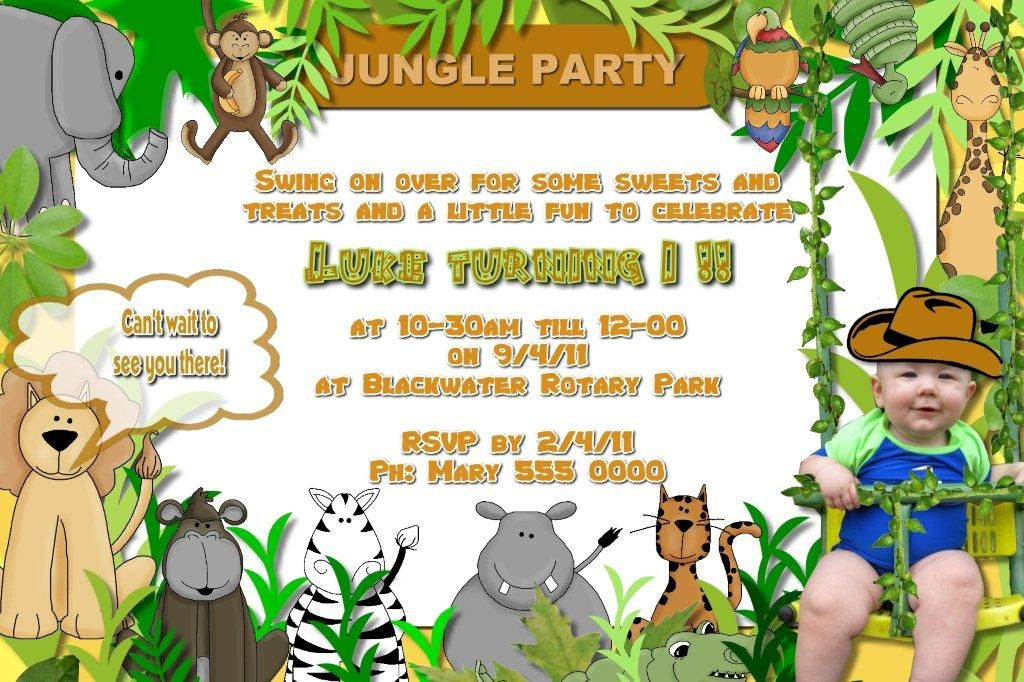 Jungle Birthday Party Invitation Wording Jungle Party Pinterest