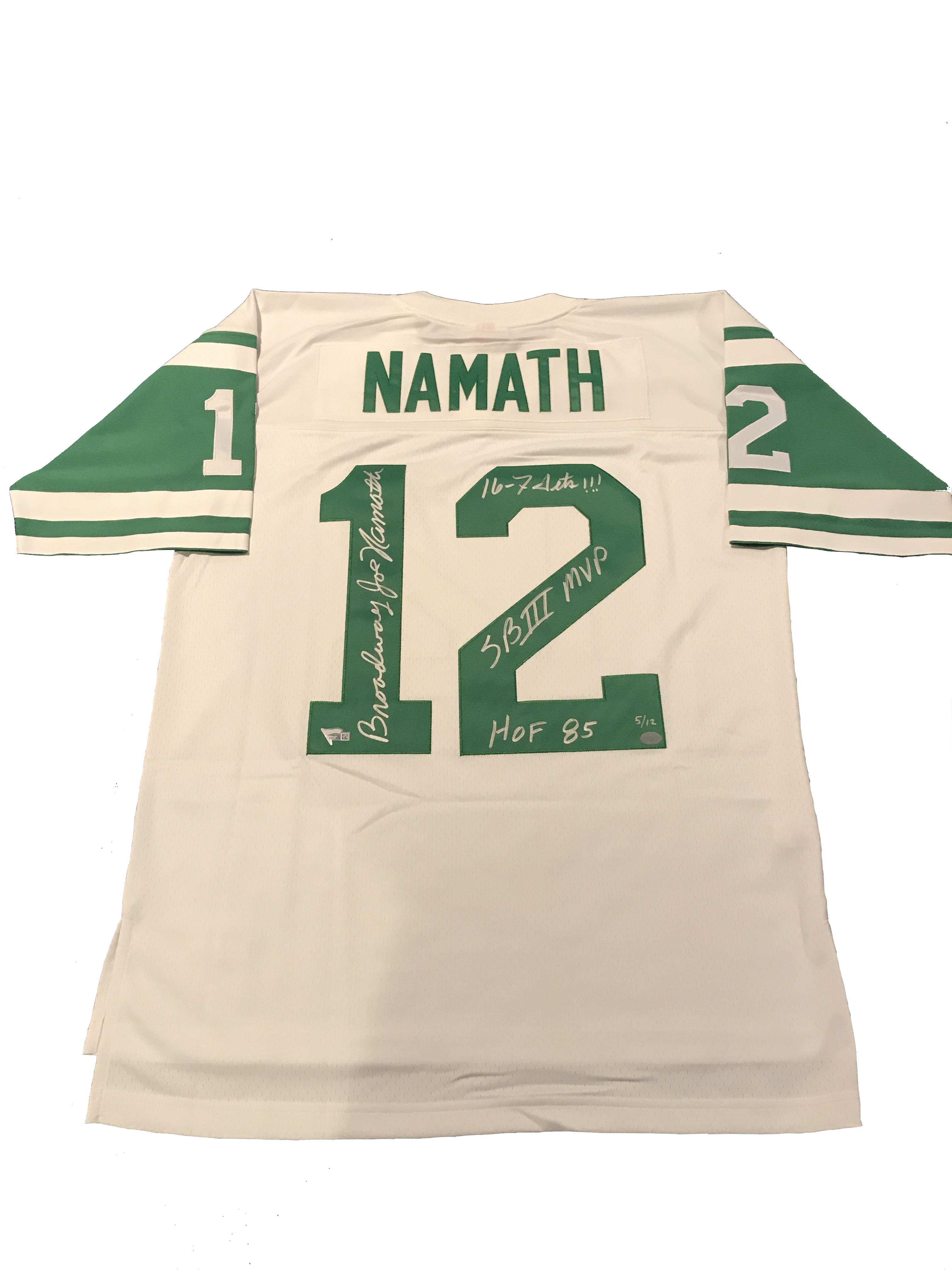 cheap for discount 9f17f afa09 Joe Namath signed Jets Throwback Jersey with Multi ...